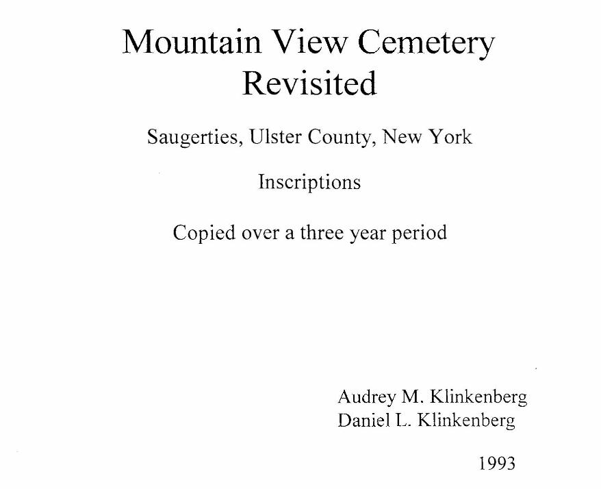 Title page Mountain View Cemetery Revisited