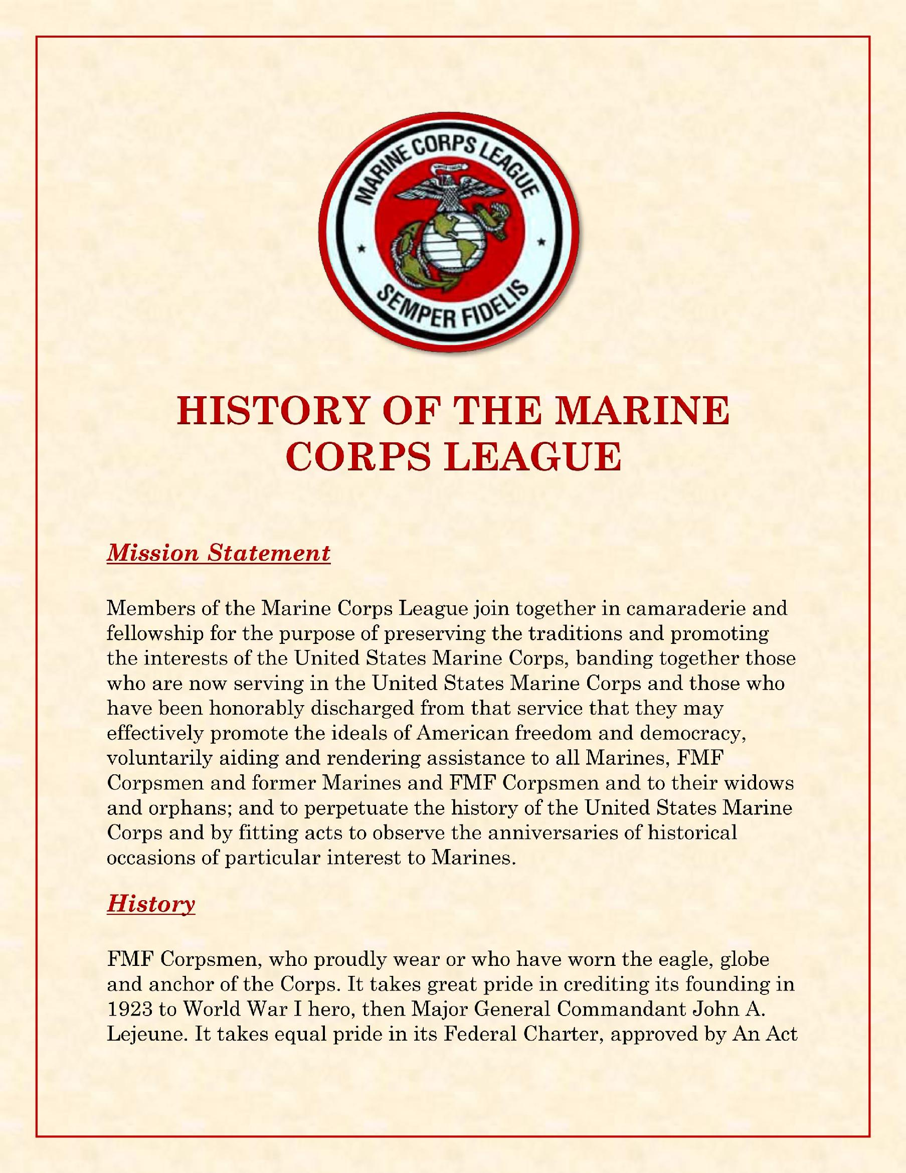 History of Marine Corps League